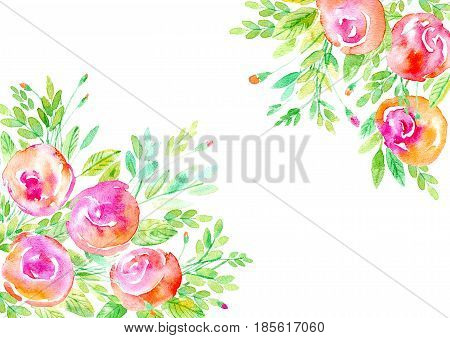 Floral frame. Garland of a roses branches. Watercolor hand drawn illustration