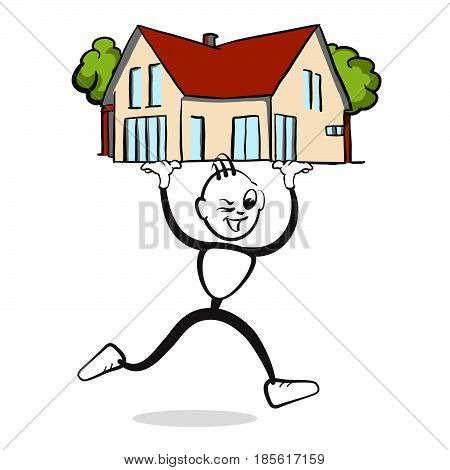 Man Presents House Stickman Emotion