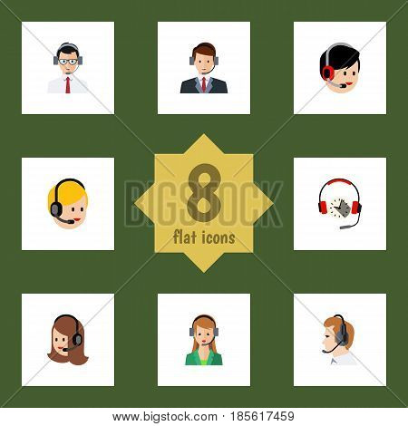 Flat Telemarketing Set Of Secretary, Help, Service And Other Vector Objects. Also Includes Secretary, Center, Service Elements.