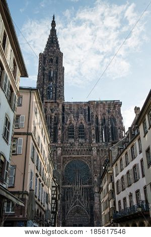 STRASBOURG (FRANCE) - 13 April 2017: Notre Dame Cathedral of Strasbourg.