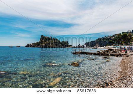 TAORMINA, ITALY - CIRCA APRIL 2017: Lagoon at Isola Bella, also known as The Pearl of the Ionian Sea, a small island close to Taormina, Sicily, southern Italy