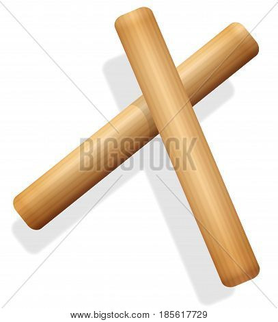 Claves - wooden hand percussion instrument - isolated vector illustration on white background.