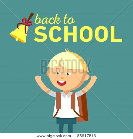 Pupil with school backpacks. Flat illustration of young boys. Happy kid ready come back to school.