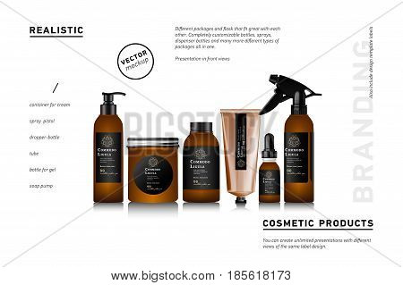 Realistic brown bottle for cosmetic cream container. Spray bottle. Tube for ointment, lotion, balsam. Mock up bottle. Soap pump bottle. Gel, balsam, with design label. Cosmetic products package.