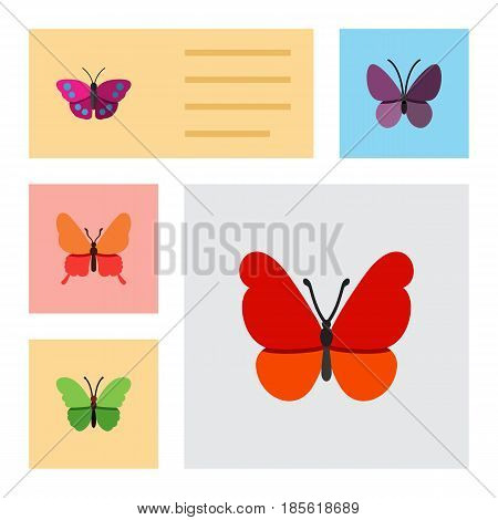 Flat Moth Set Of Violet Wing, Danaus Plexippus, Milkweed And Other Vector Objects. Also Includes Archippus, Insect, Moth Elements.