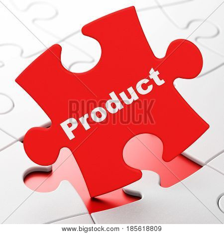 Marketing concept: Product on Red puzzle pieces background, 3D rendering