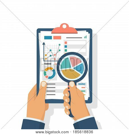 Data analysis. Clipboard in hand businessman, statistical datawith charts, diagrams. Workplace documents for financial statistics, reporting, strategy development. Vector illustration flat design.