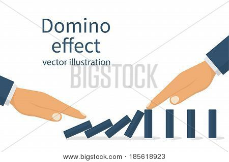 Domino effect concept. One man pushes the dominoes and second stops. Stopping chain reaction business solution. Successful intervention. Vector illustration flat design. Isolated on white background.