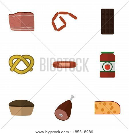 Flat Eating Set Of Meat, Cheddar Slice, Cookie And Other Vector Objects. Also Includes Kielbasa, Ham, Confection Elements.