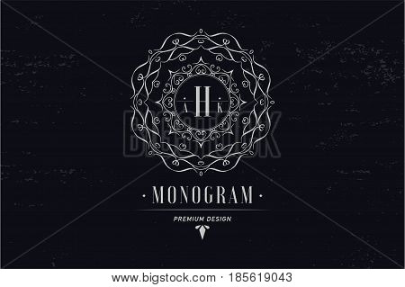 Monogram letter R. Luxury logo flourishes calligraphic elegant ornament lines. Business sign, identity for restaurant, royalty, boutique, cafe, hotel, heraldic jewelry fashion