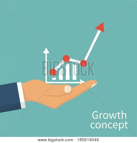 Growth concept. Man hold in hand business chart. Financial diagram, graphics. Vector illustration flat design. Isolated on background. Businessman to top graph. Profit Stock Market. Asset Management.