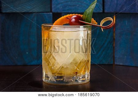 A Cocktail Or A Whiskey And Soda Over Ice A Rocks Glass
