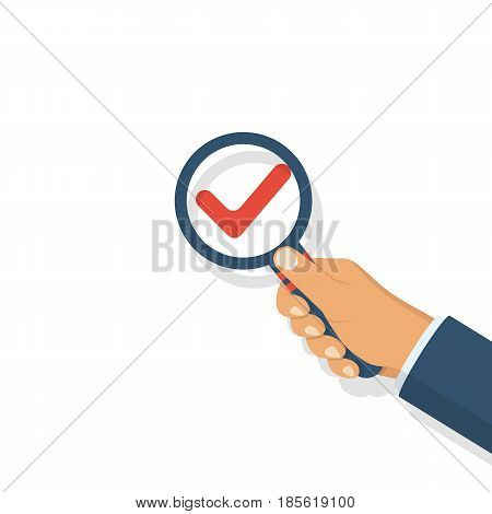 Check mark icon. Man holding a magnifying glass in hand. Magnified tick. Vector illustration flat design. Isolated on white background. Checklist.