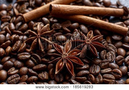 Star anise and cinnamon on coffee beans close-up