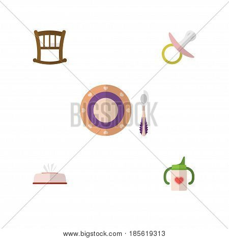 Flat Child Set Of Tissue, Nursing Bottle, Infant Cot And Other Vector Objects. Also Includes Nipple, Soothers, Box Elements.
