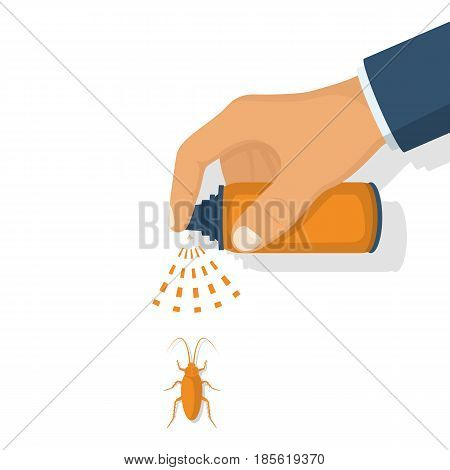 Pest control. Man hold sprayer in hand spraying pesticide. Destruction bug. Protection house from mosquitoes, mosquitoes, cockroaches, flies. Vector illustration flat. Isolated on white background.