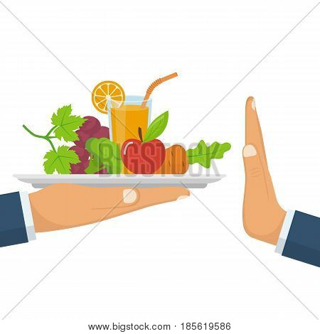 Rejecting the offered healthy food. Refuse raw food. Gesture hand NO. Tray of fresh vegetables. Veggie food, eat vitamins. Vector illustration flat design. Isolated on white background.