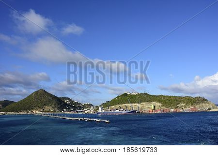 Cargo ship docked at Sint Maarten Island.