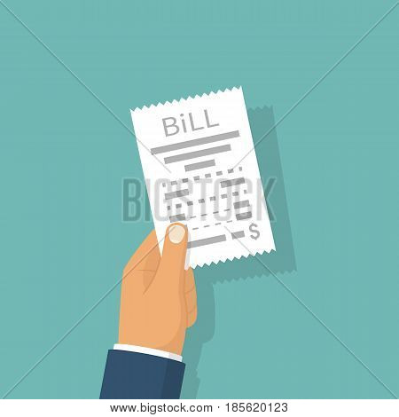 Man paying bill. Hold in hand receipt. Payment of utility, bank, restaurant. Concept business finance. Vector illustration flat design. Report finance, invoice, expenses.