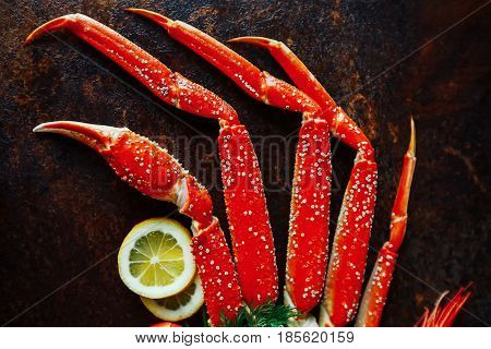 Crab claws and shrimp with lemon, close-up