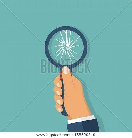 Broken magnifying glass. Vector illustration flat design. Isolated on background. Limited review.