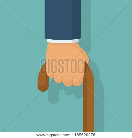Cane in hand, isolated on white background. Old man's hand hording an old wood walking stick for support. Vector illustration flat design.