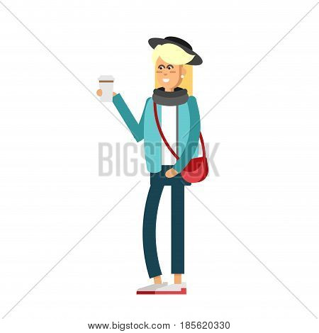 Flat vector illustration girl having a coffee and walking. Young woman wear modern clothes. Autumn look of girl isolated in white background.