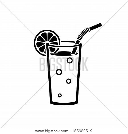Orange juice in a glass. Isolated black icon silhouette. Natural  fresh orange slice, tube for drinking pictogram. Healthy organic food. Citrus fruit. Vector flat design. Taking vitamins.