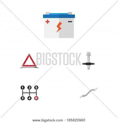 Flat Service Set Of Warning, Muffler, Carrying And Other Vector Objects. Also Includes Block, Carrying, Ratchet Elements.