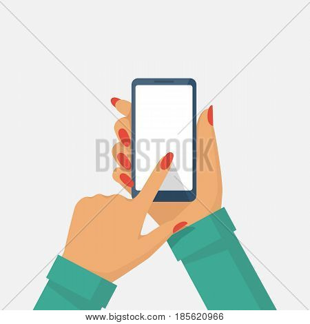 Phone in female hand.  Smartphone vector illustration flat style. Isolated on white background. Touching finger blank screen. Template for design. Mobile gadget holding in woman's arm.