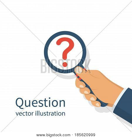 Hand holding magnifying glass with question mark. Template FAQ, place for text. Research question and answers. Help symbol. Vector illustration flat design. Isolated on white background.