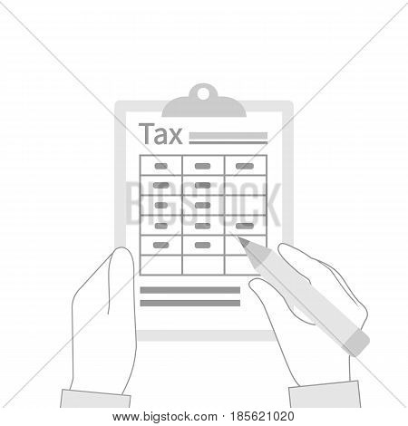Tax payment icon. Data analysis, paperwork, financial research, report. Businessman holding clipboard in hand silhouette. Flat design vector illustration. Form pay ment of debt.