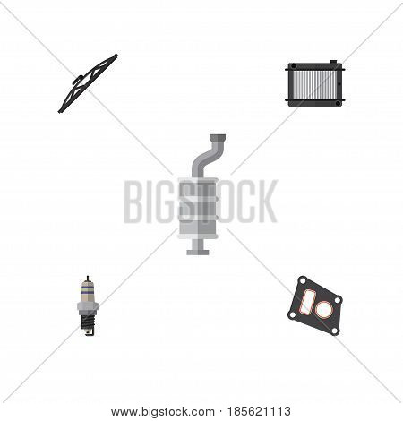 Flat Component Set Of Windshield, Spare Parts, Silencer And Other Vector Objects. Also Includes Plug, Heater, Silencer Elements.