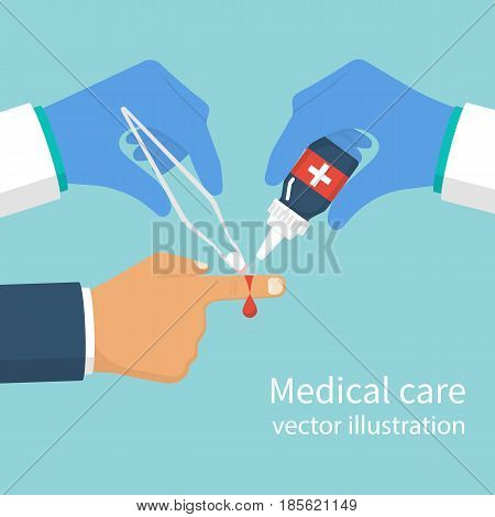 Wound treatment. A doctor with tool in hand treats patient with cut. Medical care, care for wounded. Vector illustration flat design. Isolated on background. Concept healthcare, provision first aid.