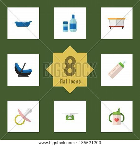 Flat Infant Set Of Bathtub, Cream With Lotion, Playground And Other Vector Objects. Also Includes Playpen, Soothers, Lotion Elements.