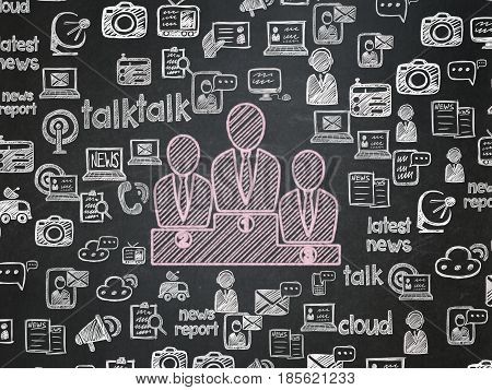 News concept: Chalk Pink Business Team icon on School board background with  Hand Drawn News Icons, School Board