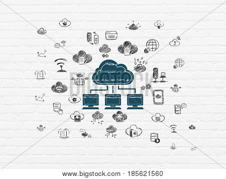 Cloud technology concept: Painted blue Cloud Network icon on White Brick wall background with  Hand Drawn Cloud Technology Icons