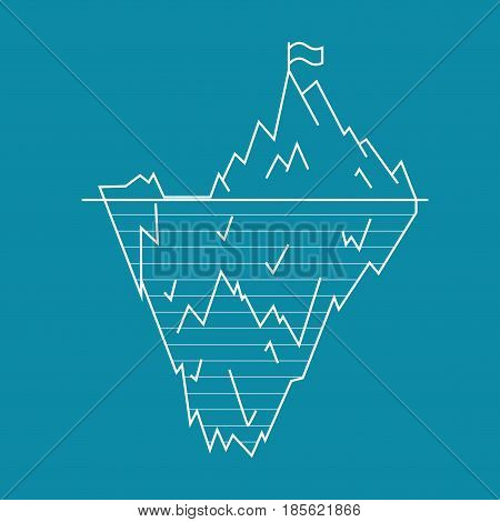 Iceberg Floating on a Sea Surface and Under Water Line Style Symbol Arctic Landscape, North Climate. Vector illustration