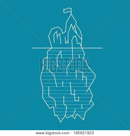 Iceberg Floating on a Sea Surface and Under Water Line Style Symbol Arctic Landscape on Blue Background. Vector illustration
