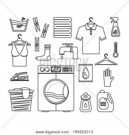 Laundry Black Thin Line Set. Washing and Ironing Housework for Web Design. Vector illustration