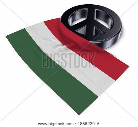 peace symbol and flag of hungary - 3d rendering