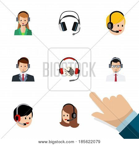 Flat Center Set Of Call Center, Earphone, Headphone And Other Vector Objects. Also Includes Secretary, Service, Center Elements.