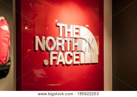 Roermond, Netherlands 07.05.2017 - Logo of the North Face Outdoor Store the Mc Arthur Glen Designer Outlet shopping area