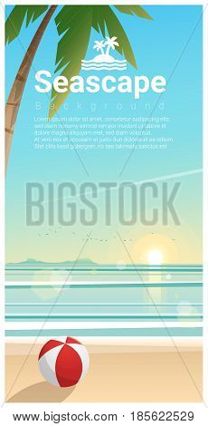 Seascape background with tropical beach in the morning , vector , illustration