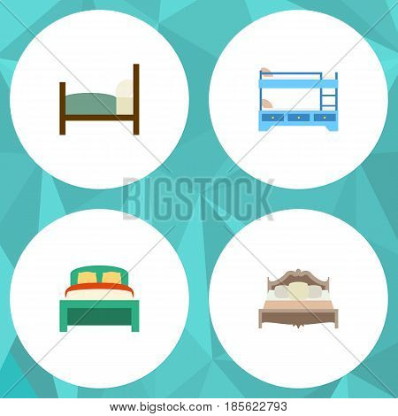 Flat Mattress Set Of Bunk Bed, Furniture, Bed And Other Vector Objects. Also Includes Furniture, Bed, Bedroom Elements.