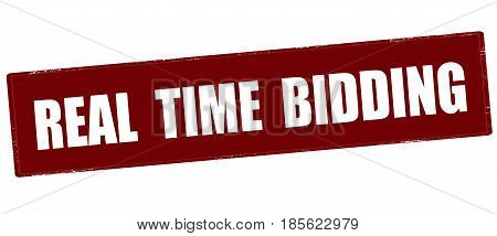 Stamp with text real time bidding inside vector illustration