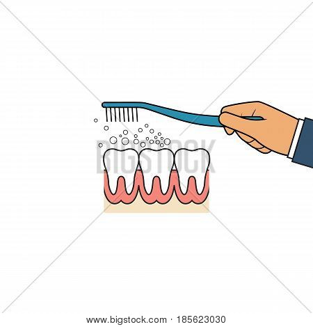 Brushing teeth icon. Oral hygiene pictogram. Toothbrush hold in hand man. Dental care concept. Toothpaste bubbles foam. Vector illustration flat line design. Isolated on background.