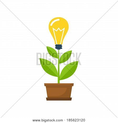 Concept growing idea. Growing sprout with a light bulb in the pot. Vector illustration flat design. Isolated on white background. Business metaphor.