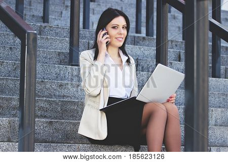 Conversation With Business Partner. Portrait Of Attractive Confident Business Woman In Formal Wear T