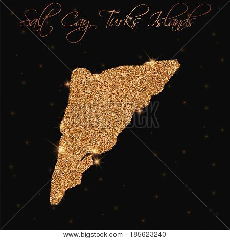 Salt Cay, Turks Islands Map Filled With Golden Glitter. Luxurious Design Element, Vector Illustratio